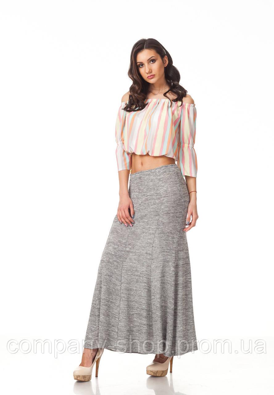 Женская юбка макси. Модель Ю093_серая вязка.