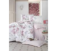 Хлопковый комплект постельного белья ЕВРО размера Cotton Box ROSELLA PEMBE CB03