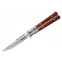 Нож балисонг-бабочка Grand Way 1029 KAC сталь клинка 440C, цвет рукоятки Коричневый