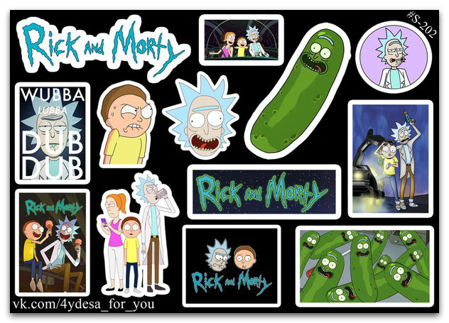 Stickers Pack Rick and Morty, Рик и Морти #202