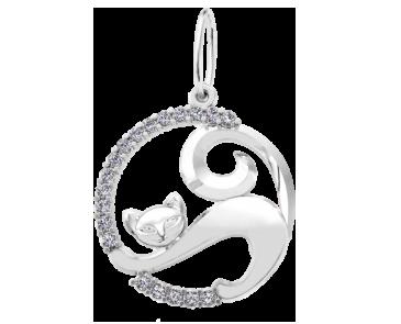 Подвеска - кулон серебряная Котёнок 60141