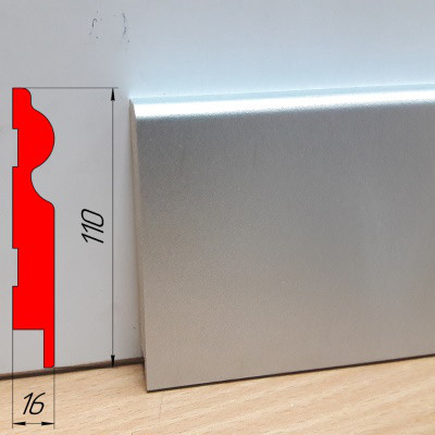 Высокий плинтус МДФ под металл, высотой 110 мм, 2,8 м Алюминий