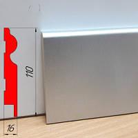 Высокий плинтус МДФ под металл, высотой 110 мм, 2,8 м Алюминий, фото 1