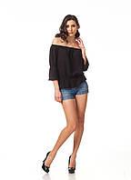 Женская летняя кофта. Модель К088_черная жатка, фото 1