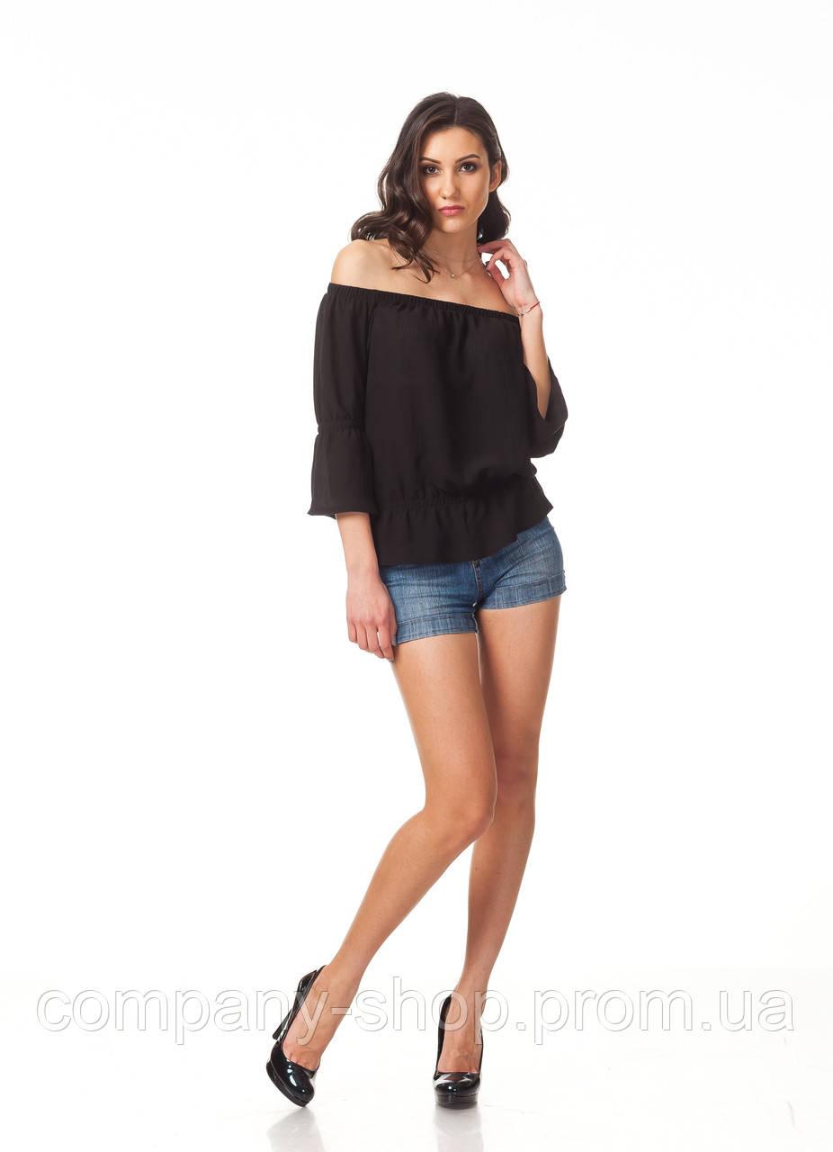Женская летняя кофта. Модель К088_черная жатка
