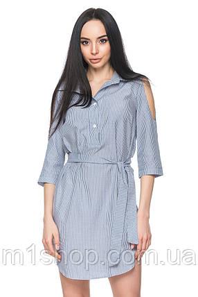 Женское платье-рубашка с поясом (4043 br), фото 2