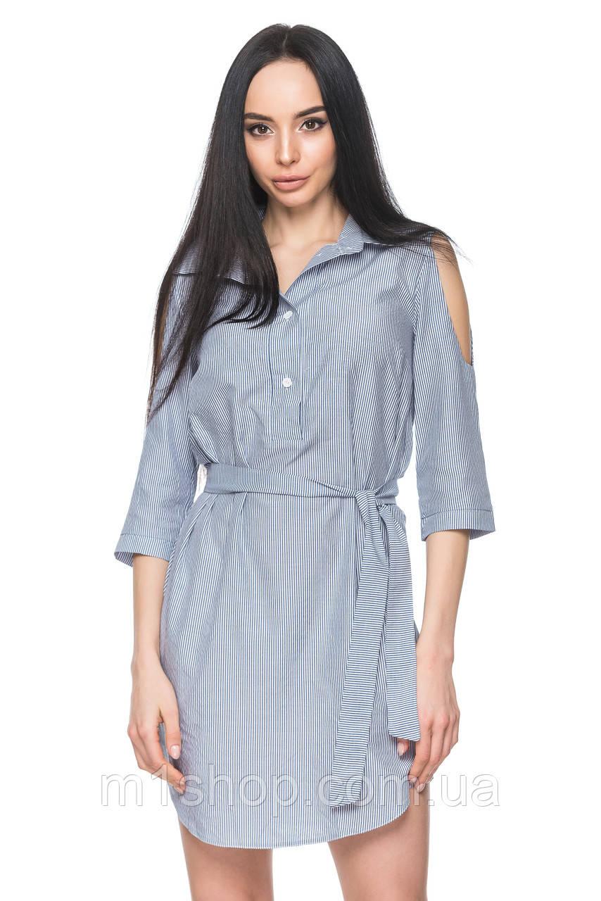 Женское платье-рубашка с поясом (4043 br)