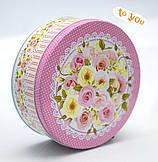 Жестяная банка Роза розовая,190х76мм, оптом