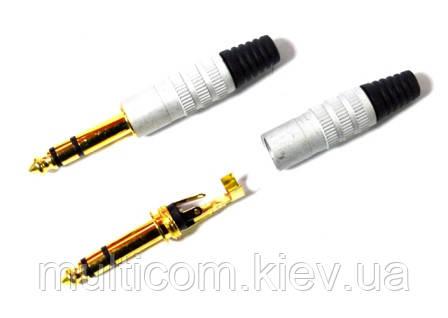 01-01-112. Штекер 6,3 стерео, корпус металл, gold pin, серый