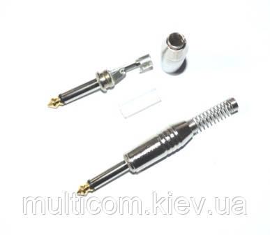 01-01-012. Штекер 6,3 монo, корпус металл, gold pin, с длинной пружиной, серебристый