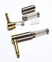 01-01-045. Штекер 6,3 моно угловой, корпус металл, gold pin, с пружиной, серебристый