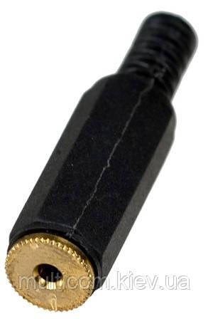 01-00-015. Гніздо 2,5 стерео кабельне, корпус пластик, з хвостовиком, чорне