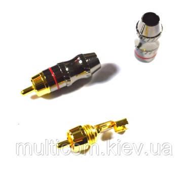 01-02-019. Штекер RCA, корпус метал, gold pin, диам.-6,5мм, серый