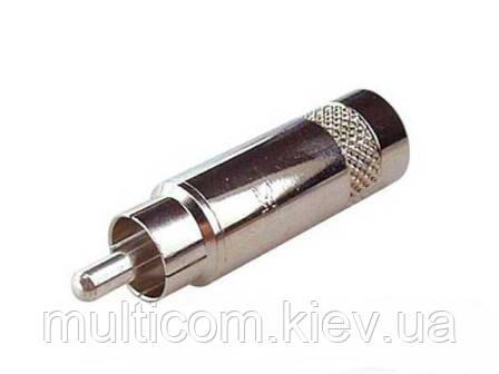 01-02-021. Штекер RCA, корпус металл, без пружины, Neutrik, серебристый
