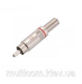01-02-022. Штекер RCA, корпус металл, с пружиной, Neutrik, серебристый