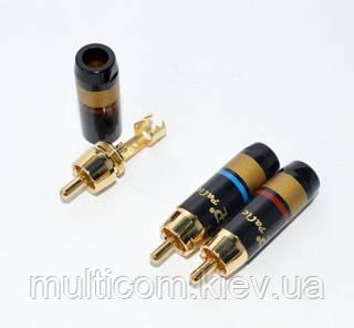 01-02-42. Штекер RCA проф.gold, диам.- до 6мм.,gold полоса