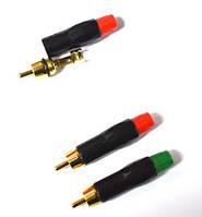 01-02-34. Штекер RCA PowerCon, металл, черный корпус, зеленый концевик