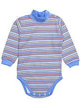 Детский боди-гольф голубой цветная полоска
