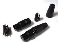 01-04-24. Штекер CANON (XLR) 3pin PowerCon, под шнур, металл, черный