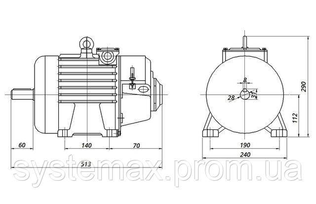 МТН - IM1001 на лапах (габаритные и установочные размеры)