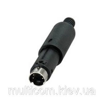 01-05-021. Штекер mini DIN 4pin под кабель, корпус пластик