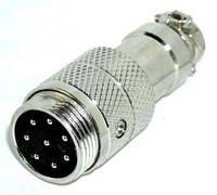 "01-08-20. Разъём MIC 348, ""штекер"", под кабель, 8pin, диам.-16мм"