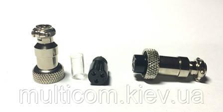 """01-08-24. Разъём MIC 323 mini, """"гнездо"""", под кабель, 3pin, диам.-12мм"""