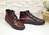 Женские демисезонные ботинки, из натуральной кожи бордового цвета, на плоской подошве, фото 2