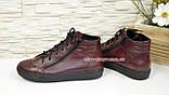 Женские демисезонные ботинки, из натуральной кожи бордового цвета, на плоской подошве, фото 3