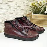 Женские демисезонные ботинки, из натуральной кожи бордового цвета, на плоской подошве, фото 4