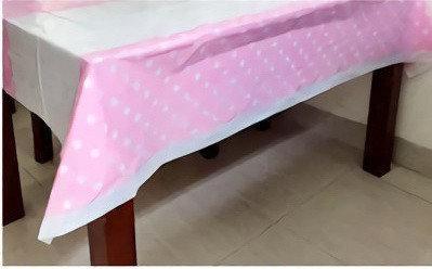 Скатерть розовая в горошек 180х110см