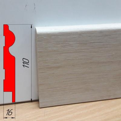 Плинтус МДФ фигурной формы, высотой 110 мм, 2,8 м дуб шамони светлый