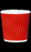 Стакан гофрированный RIPPLE RED красный 110мл/25шт/упак