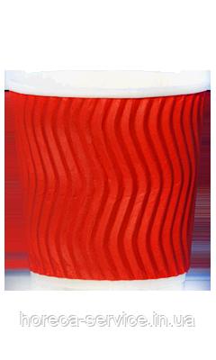 Стакан гофрированный RIPPLE RED красный 110мл/25шт/упак, фото 2