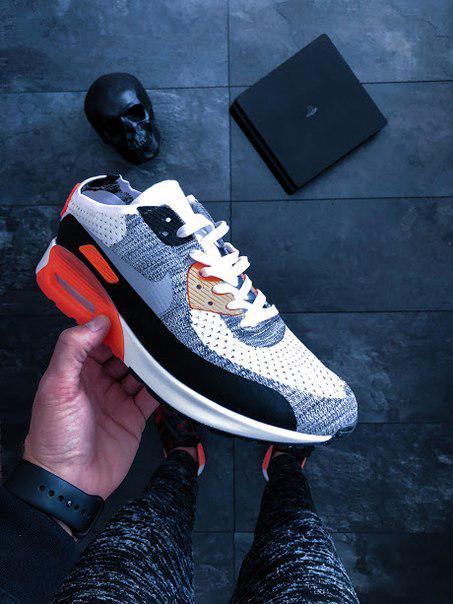 16b020d1 Мужские кроссовки Nike Air Max 90 Flyknit Infrared найк эир цветные ...