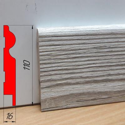 Высокий тонкий напольный плинтус из МДФ, высотой 110 мм, 2,8 м Монблан грей
