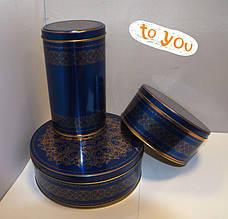 Жестяная банка для хранения Праздничная синяя, 190*76мм, фото 3