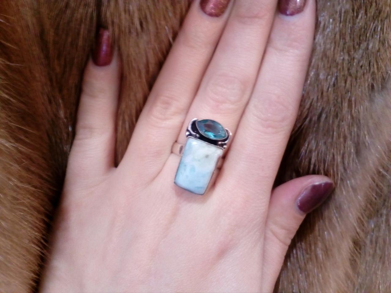 Красивое кольцо с натуральным ларимаром и кварц-топазом. Кольцо ларимар в серебре 16,5-17 размер Индия