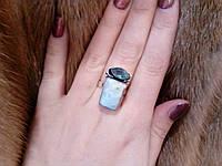 Красивое кольцо с натуральным ларимаром и кварц-топазом. Кольцо ларимар в серебре 16,5-17 размер Индия, фото 1