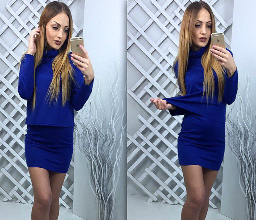 Платье мини-майка+свитер длинные рукава, под горло, синий