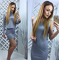 Платье мини-майка+свитер длинные рукава, под горло, серый, фото 1
