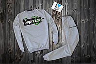 Трикотажный серый костюм Supreme x Gucci logo