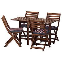 ÄPPLARÖ Стол 4 складные стулья, садовый, коричневая морилка, Ekerön черный