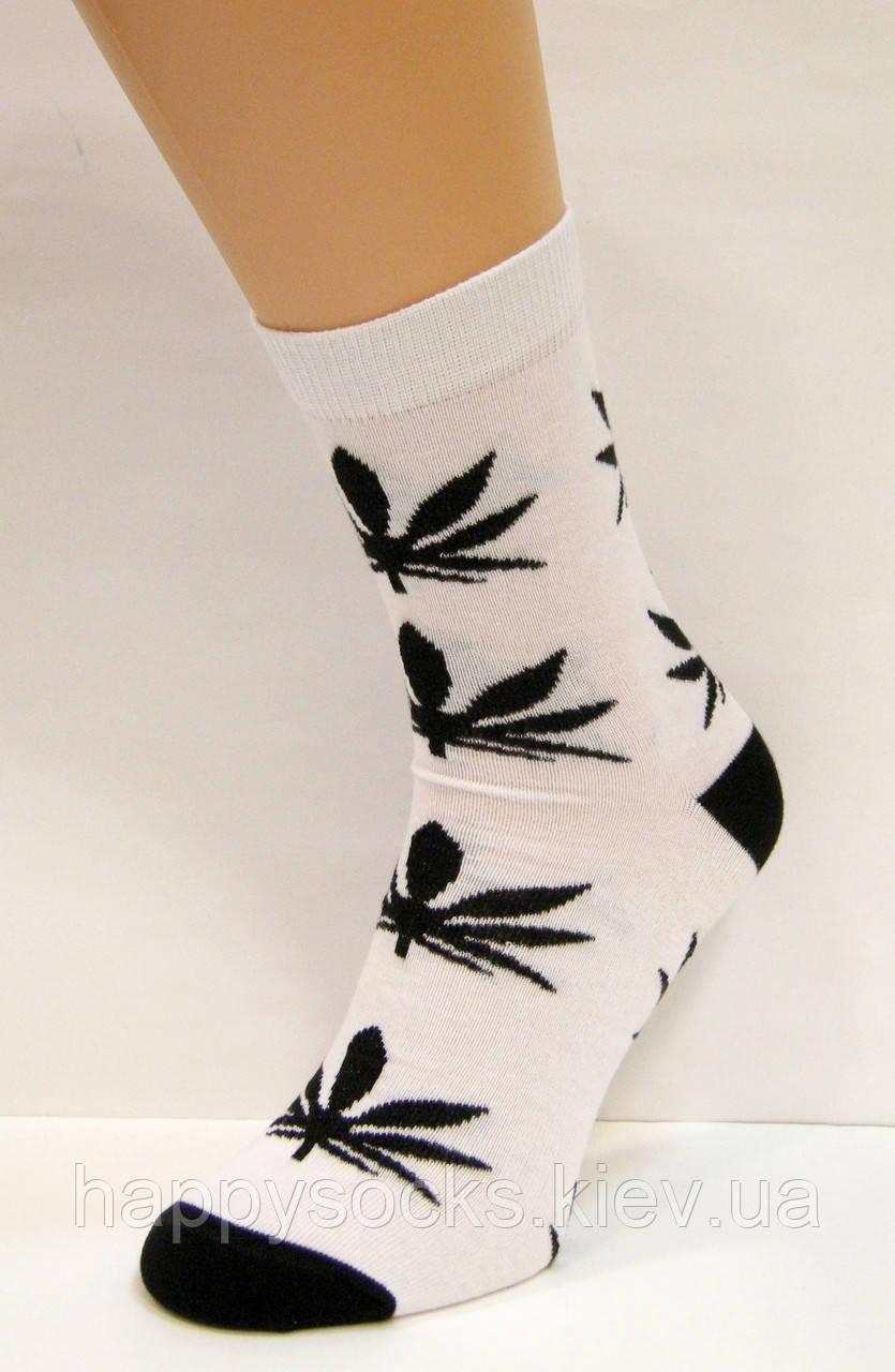 Цветные высокие носки с коноплёй подростковые