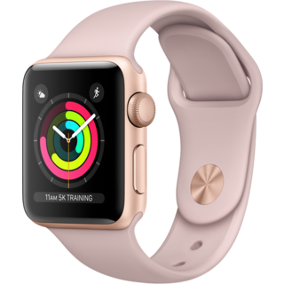 Apple Watch Series 3 38mm GPS Gold Aluminum Case with Gray Sport Band (MQKW2)