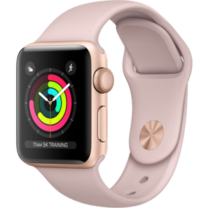 Apple Watch Series 3 38mm GPS Gold Aluminum Case with Gray Sport Band (MQKW2), фото 2