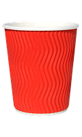 Стакан гофрированный RIPPLE RED красный 270мл/25шт/упак
