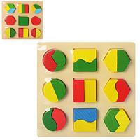 Деревянная игрушка Геометрика Пазл Вкладыш, MD 0716, 003666