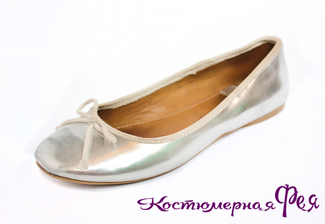 Балетки серебряные лаковые для девочки (артикул № 42)
