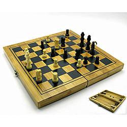 Нарды+шахматы+шашки бамбук (24х12 см) (18477)